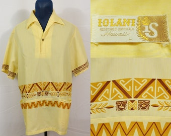 04069ff909ba Vintage 1960's Iolani Hawaii Pullover Hawaiian Shirt Tiki Mod Rockabilly  Surfer Surf Beach Island Lightweight Summer Single Stitch Yellow L