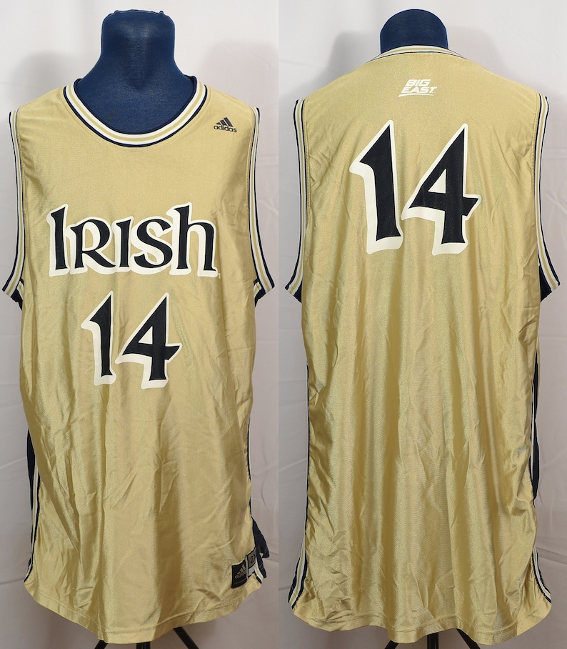 finest selection bb9d3 db721 Vintage Adidas Notre Dame Fighting Irish Basketball Jersey NCAA Big East  College University Shiny Gold Blue XXL 2XL #14 Indiana Division I