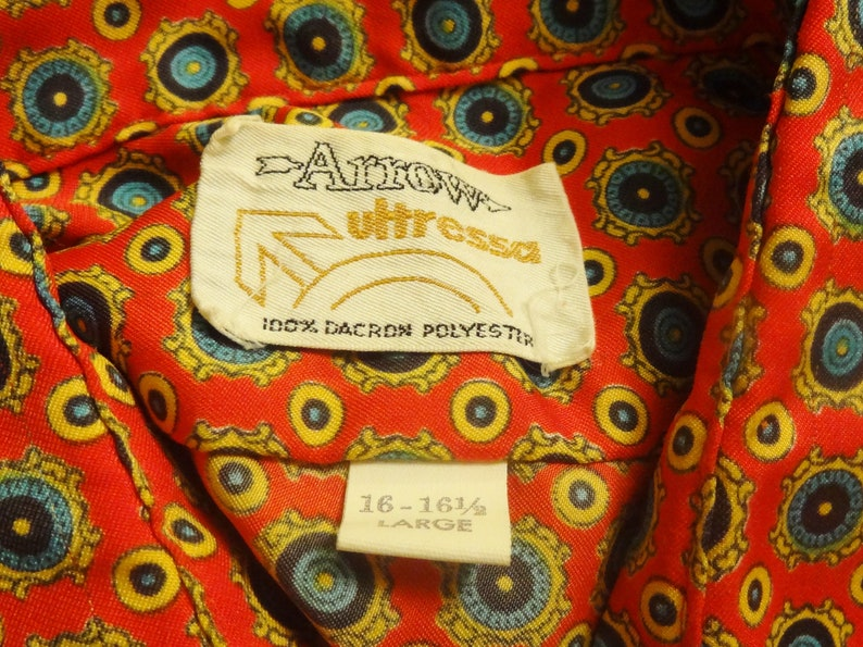 Vintage 1960/'s Arrow Ultressa Button Front Mod Shirt Dacron Polyester Psychedelic Hippie Rockabilly Bohemian Geometric Circles Disco Club
