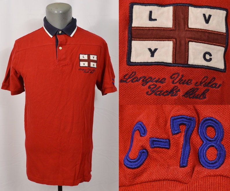 Racing Polo Yacht Sailing Boat Red Embroidered Flag Shirt Longue Ralph Rl 1990's Yachting Rugby Island Club Vue Vintage Chaps Lauren rBeWxoCd