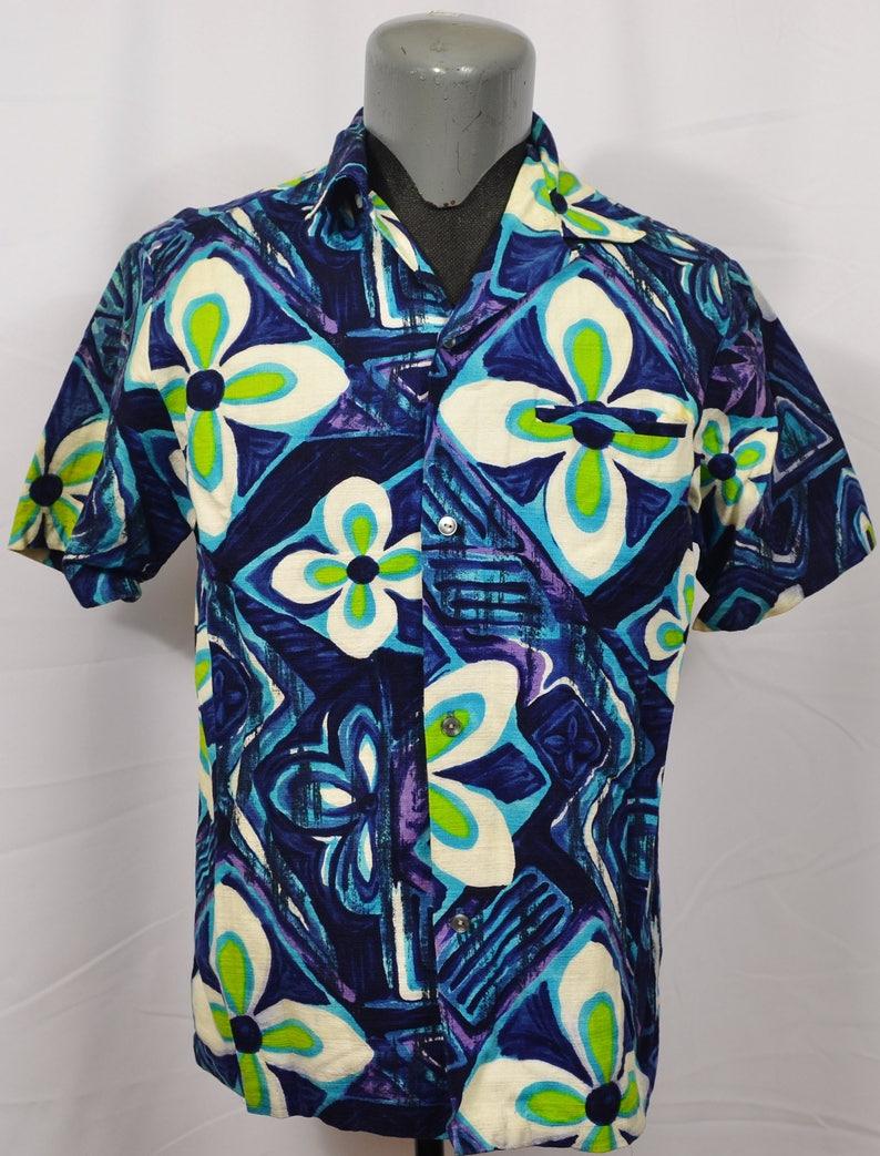 9624e415 Vintage Malihini 60's Hawaiian Shirt Barkcloth Loop Collar | Etsy