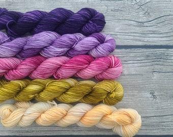 Flower Gleam and Glow - Gradient Set - Mini Skein Set - Hand Dyed Yarn - Fingering/Sock Yarn - Indie Dyed Yarn - Hand Dyed Yarn