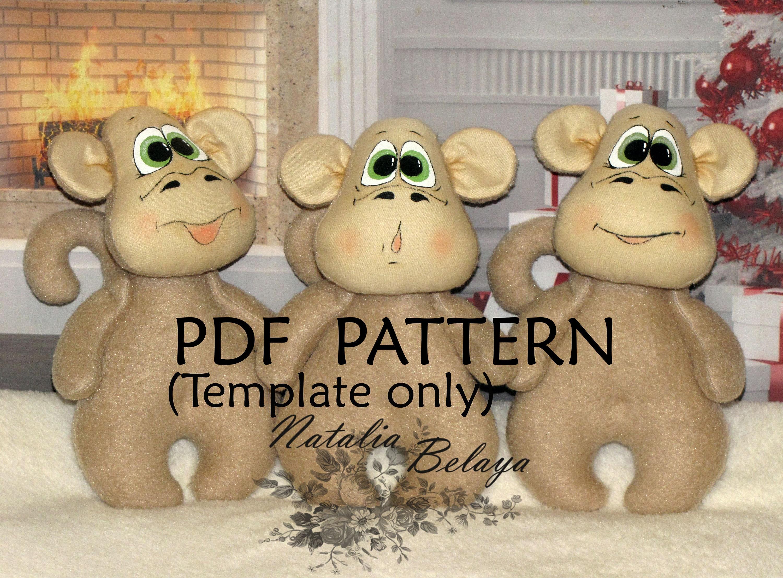 PDF-Muster. Affe-Muster. Schnittmuster. Niedlichen Affen