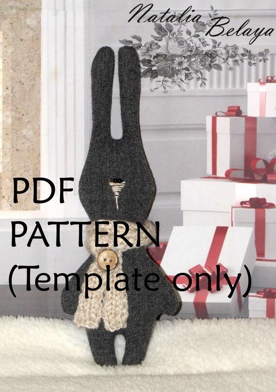 PDF-Muster. Hase-Spielzeug-Muster. Nähen-Vorlage. Kuscheltier