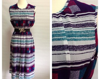 Vtg 80s Square and Stripes Sleeveless Dress/ small