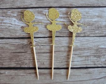 Set of 10+ Gold Glitter Ballerina cupcake toppers - Ballerina Birthday Party Decor, Party Favour Favor, Gold Ballerina Party