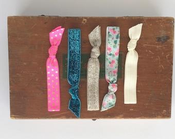 Floral, Pink, and Teal Hair Tie Set