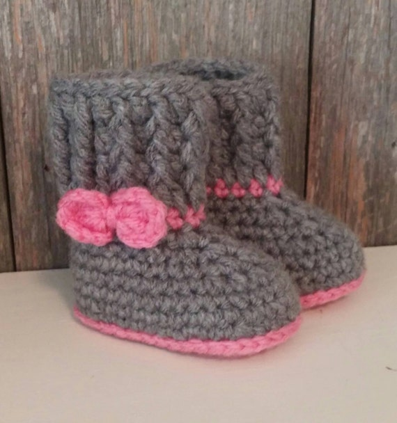 Baby Ugg Boots Gray Baby Uggs w/ Pink