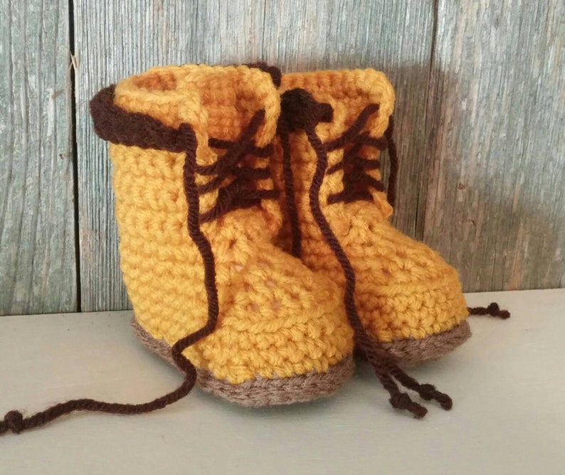 4ebcb798a58d5 Timberland Boots - Crocheted Baby Timberland Boots - Baby Work Boots -  Crocheted Baby Boots