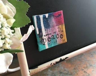 Peace Mixed Media Original Mini Canvas Magnet