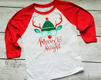fbb2a873 Merry and bright shirt, kids christmas shirt, reindeer shirt, Raglan, youth  Christmas raglan, kids Christmas Shirt, rudolph shirt