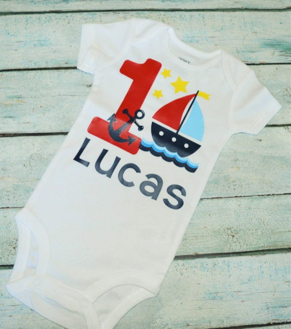 Nautical First Birthday Shirt Boat