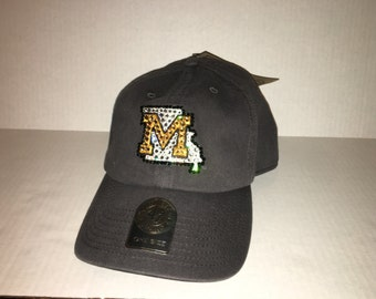 Swarovski crystal bling Missouri Tigers adjustable hat