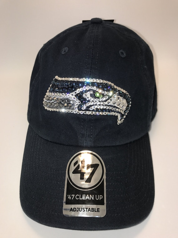 Swarovski crystal bling Seattle Seahawks adjustable hat  72a81bf72
