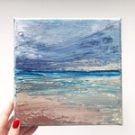 "NEW Ocean Art Seascape Acrylic Painting Original // 8x8"" on Canvas"