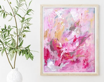 Abstract Art Print, Pink Wall Art, Abstract Painting by Katie Jobling