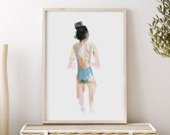 Beach Babe Art Print, Nautical Figure Painting, Woman Art by Katie Jobling
