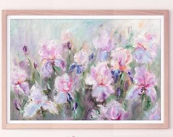 Iris Print, Floral Wall Art, Flower Print by Katie Jobling