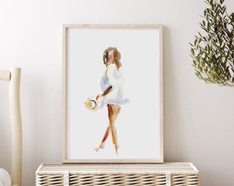 Beach Babe Art Print, Beach Woman Painting, Figure Drawing
