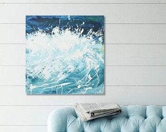 """Ocean Wave Painting Art Acrylic Original // """"Caress"""" 20 x 20"""" Canvas"""