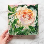 """Floral Painting Art 8x8"""" Acrylic Little Painting on Canvas"""