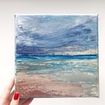 "NEW Ocean Art Seascape Acrylic Painting Original // 8x8"" on Canvas"