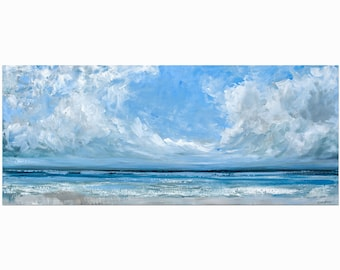 """Big Ocean Painting Canvas, Large Sea Acrylic Art, """"Parting Ways"""" 50x120cm by Katie Jobling"""