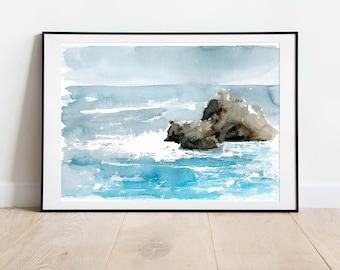Ocean Watercolor Painting Art Print, Seascape Ocean Wall Art, Coastal Art Print