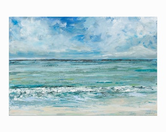 """Original Seascape Painting, Ocean Wall Art """"Let's Escape"""" 20x30"""" on Canvas by Katie Jobling"""