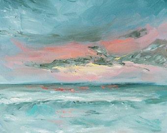 """Original Painting Art Oil // """"Last Light"""" 20 x 20"""" on Canvas"""