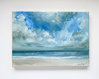 """Ocean Wall Art, Seascape Painting on Canvas 10x14"""" by Katie Jobling"""