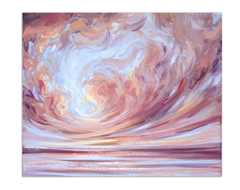 """Abstract Seascape Painting, Ocean Wall Art """"Dancing Clouds"""" 20x24"""" on Canvas by Katie Jobling"""