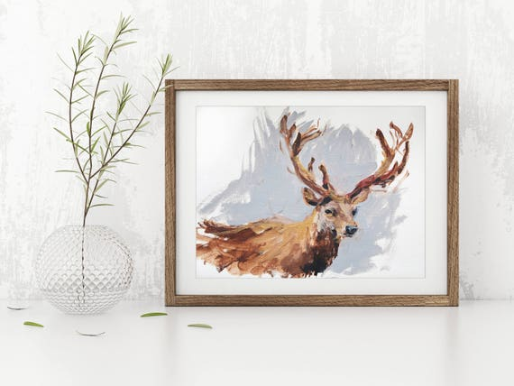 Pubg Fanart Acrylics Paper: Stag Painting Antlers Art Acrylic Original // 12 X 16 On