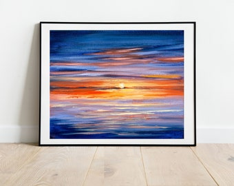 Sunset Print in the UK, Sunset Wall Art, Dramatic Sunset Painting