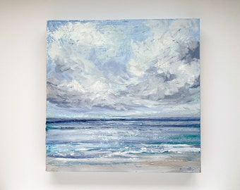 """Original Seascape Oil Painting, Beach Art """"Windswept"""" 16x16"""" on Canvas by Katie Jobling"""