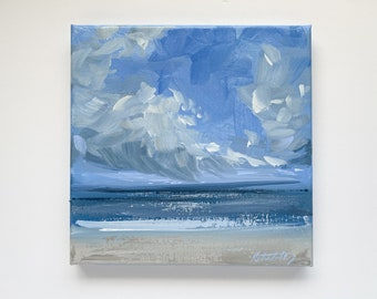 """Mini Sea Painting on Canvas 8x8"""" by Katie Jobling"""