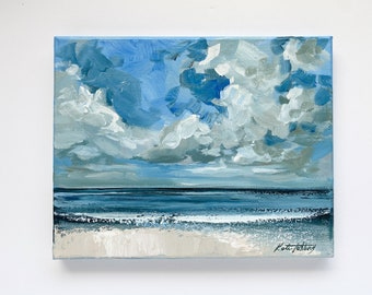 """Small Ocean Painting on Canvas 8x10"""" by Katie Jobling"""