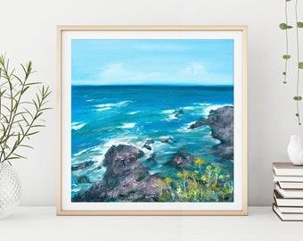Sea Print, Coastal Wall Art, Devon Ocean Painting by Katie Jobling