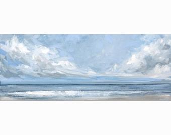 "Ocean Painting Canvas, Sea Acrylic Art, ""Voyage"" 40x100cm by Katie Jobling"