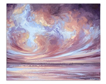 """Abstract Seascape Painting, Ocean Wall Art """"Illuminate"""" 20x24"""" on Canvas by Katie Jobling"""
