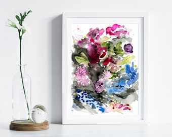 Floral Watercolor Art Print, Abstract Art Print, Watercolor Floral by Katie Jobling