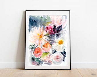 Watercolor Print, Floral Wall Art, Flower Painting, Abstract Art Print