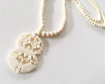 Vintage Jewelry Supplies Vintage Beads for Jewelry Making Beach Necklace Beach Accessories Butterfly Bone Beads Carved Pendant VSCO