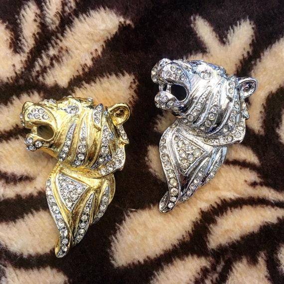 Vintage Tiger Brooch Swarovski Crystal Figural Pin