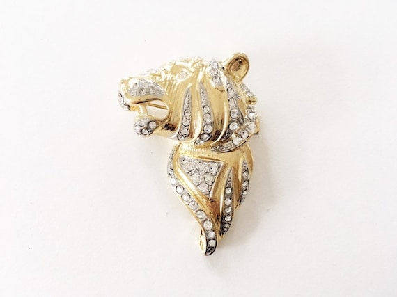Vintage Tiger Brooch Swarovski Crystal Figural Pin - image 2