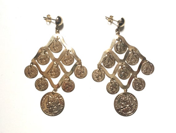 Vintage Gold Tone Coin Chandelier Earrings Stateme