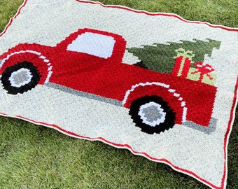 Vintage Red Truck with Christmas Tree C2C Crochet Blanket PATTERN DOWNLOAD with Written Color Changes and Pixel Chart