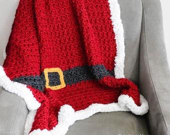 Santa Inspired Christmas Crochet Blanket Pattern PDF Printable Download Baby Blanket Afghan Throw
