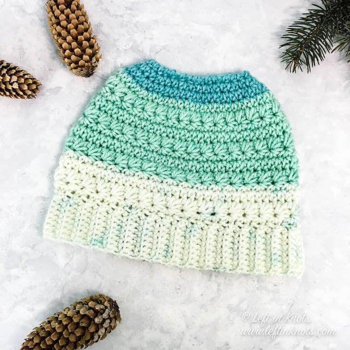 Snow Drops Messy Bun Hat Crochet Pattern Pdf Printable Etsy