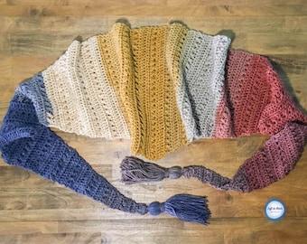 Crunching Leaves Mod Scarf Crochet Pattern PDF Triangle Scarf